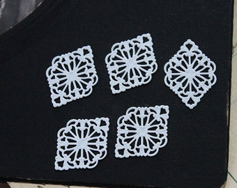 10pcs White Enameled  RAW brass Filigree  Jewelry Connectors Setting Cab Base Connector Finding  (FILIG-EW-6)