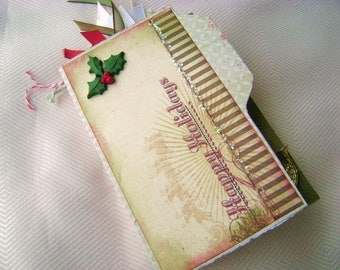 Christmas holiday accordian fold mini scrapbook album with tags