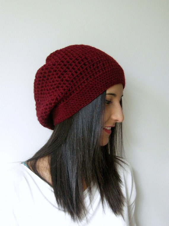 claret red,crochet,headpiece,hat,Christmas gifts, Womens hat-  womens Slouchy Beanie Fashion gifts Winter Accessories