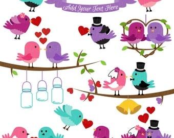 Wedding Birds Clipart Clip Art, Valentine Love Birds Lovebirds Clipart Clip Art - Commercial and Personal