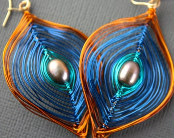 Wild Blue and Orange Peacock Earrings Free US Shipping Large or Small