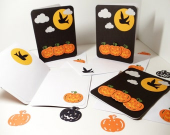 Halloween Cards- Halloween Invitations- Party Invitation- 4 Card Set- Box of Cards- Black Orange Cards- Pumpkin Cards- Halloween Notes