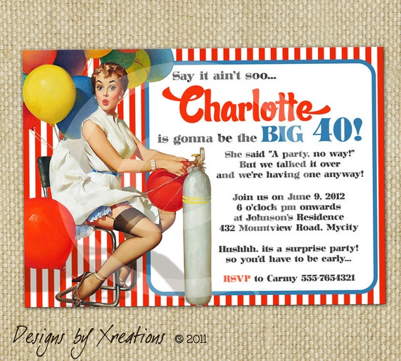 ... Fiber Arts Glass Art Mixed Media & Collage Painting Photography Prints: www.etsy.com/listing/106428523/retro-pinup-girl-invitation-birthday