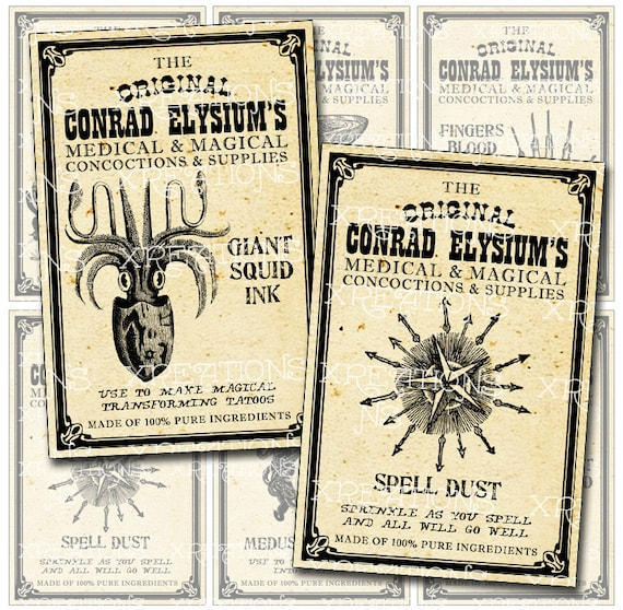 Steampunk Apothecary Labels, Potions, Magical Concoctions and Magical Spells - Digital Collage Sheet in 2x3 inches - print your own