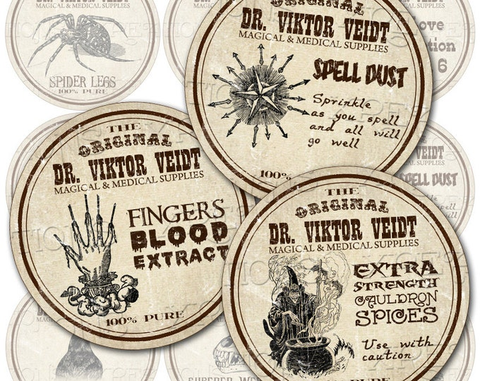 Antique Potion Labels, Apothecary in 2 inches circles - Digital Collage Sheet - Halloween Lables