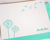 Personalized Letterpress Stationery Dandelions Teal Blue