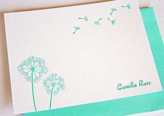 Personalized Letterpress Stationery Dandelions Teal Blue