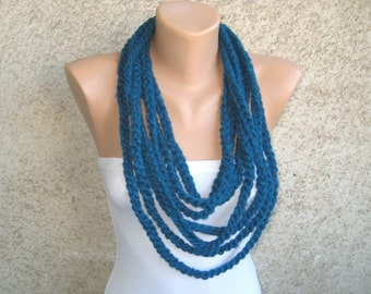 Chunky Circles Scarf Necklace, Petrol Blue Loop with Button, Crochet Wool blend Women Accessory, Fall Winter Fashion Scarf, Christmas Gift