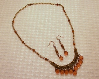 Bronze and Brown Necklace and Earring Set FREE SHIPPING