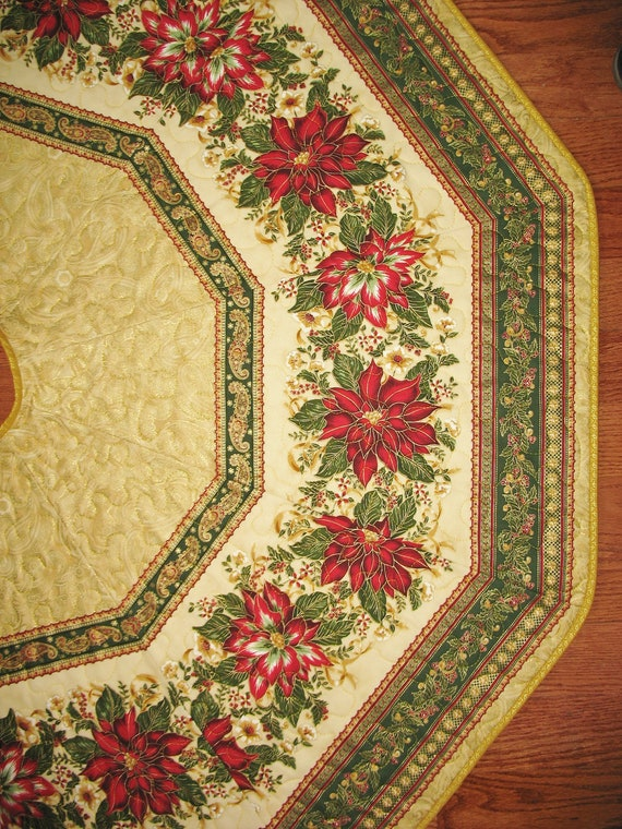 Christmas Tree Skirt Quilted With Poinsettias From Robert