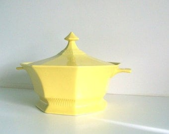 Vintage Independence Ironstone Yellow Octagon Shaped Covered Serving Dish Bowl