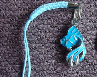 Blue Fish Cell Phone Charm