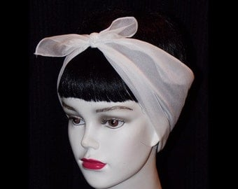 White Rockabilly 50's Style Hair n' Neck Chiffon Scarf