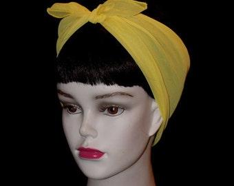 Yellow Rockabilly 50's Style Hair n' Neck Chiffon Scarf