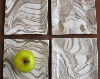 Appetizer Plate or Soap Dish - Handmade Stoneware - Brown and White Marbled Pottery Agateware - Ceramic Dish - Hostess Gift