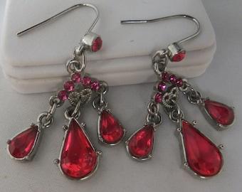 Vintage pink open back rhinestones and silver tone pierced chandiler earrings 80s Sale half price