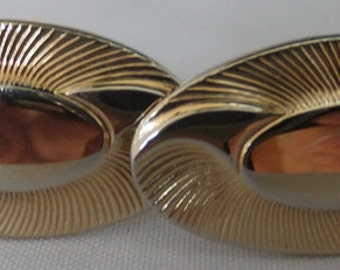 Vintage jewelry cuff link in etched and polished gold tone by Ansel wedding cuff links Sale half price