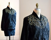 Vintage Black Bomber Jacket in Black Lace with Metallic Embroidery Size Large// Vintage Black Lace Jacket