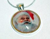 Santa Pendant, Glass Tile Pendant Great Gift Ready to Ship