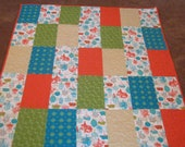 Orange, Turquoise, and Green Quilt 52x62