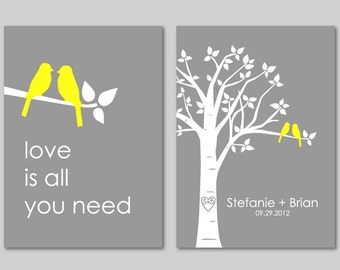 Wedding Gift Love Birds Personalized Custom Love Bird Wedding Family Tree - Birds on Branch - Love is All You Need - Set of 2 prints- 5x7s