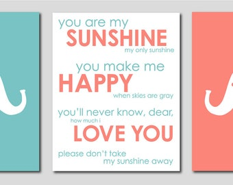 "Teal and Coral Nursery Aqua and Coral Nursery Elephant Nursery and You are my Sunshine- Art for Nursery - Set of three 8""x10"" prints"