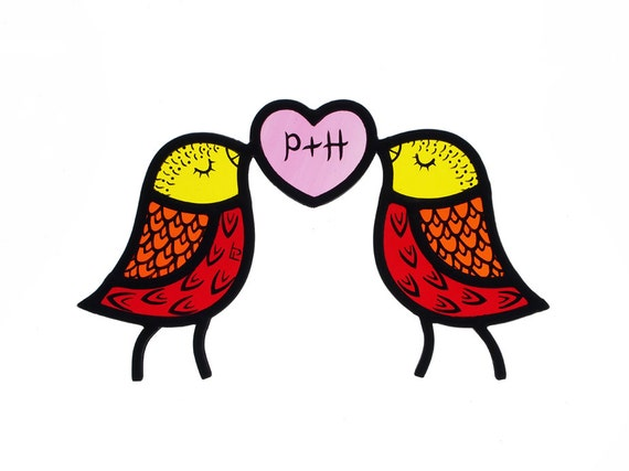 Contemporary Stained Glass Love Birds with Personalised Heart (MADE TO ORDER)