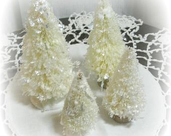 4 pc set of SUGARED bottle brush trees OFF WHITE set vintage style shabby