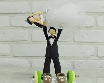 Weightlifting pose custom wedding cake topper decoration gift