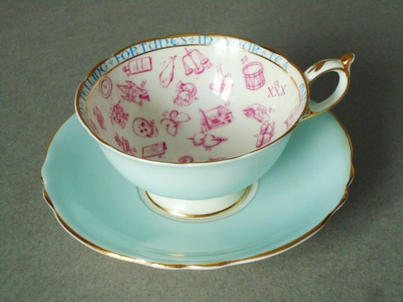 Paragon Fortune Telling Tea Cup And Saucer Blue Fortune