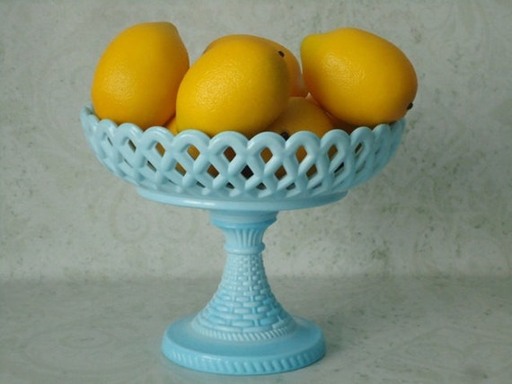 Vintage Challinor Taylor Compote - Antique Opaque Robins Egg Blue Glass Compte  - 1900s Light Blue Glass Candy Dish