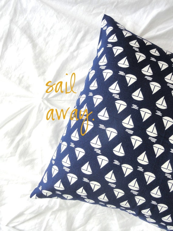 Designer Decorative Pillow Cover - Sailboats in Navy - 18 inch - Throw Pillow Cover