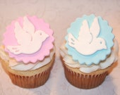 Fondant cupcake toppers for Baptism, Christening, Peace Dove