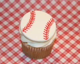 Fondant cupcake topper Baseball