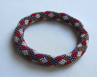 Bead Crochet Pattern:  Diamonds Bead Crochet Bangle Pattern