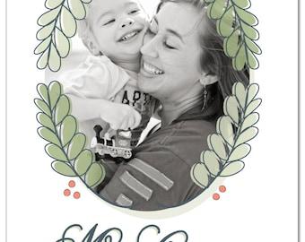 Holly Photo Christmas Card - Printable