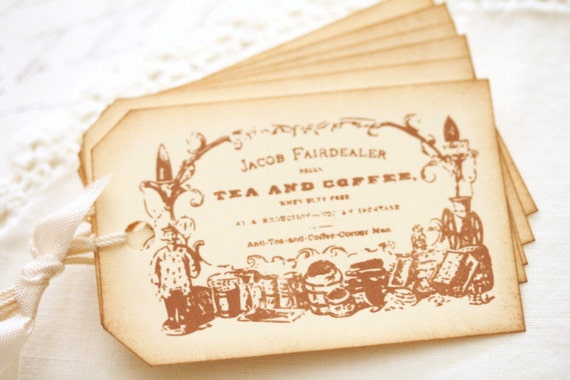 Vintage Label Gift Tags Sepia and Cream Favors and Gifts