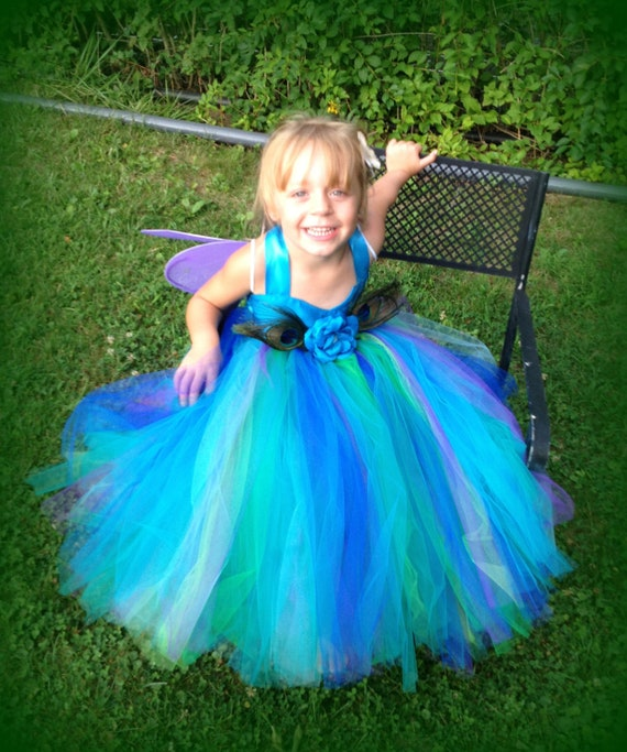 Items similar to flower girl dress aurora peacock for Flower girl dress for beach wedding