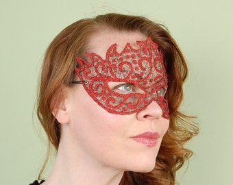 SHEER MASK- Sparkle Mesh- Red Midnight- Halloween, Fairy, Mardi Gras,Venetian, masquerade mask, tattoo