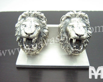 Sterling Silver Roaring Lion Cufflinks