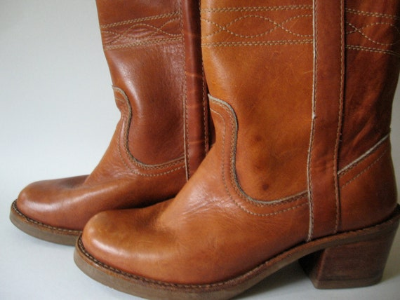 I can't believe it's not Frye...tall red brown steerstitch vintage campus boots women's 6.5 Romania 70s