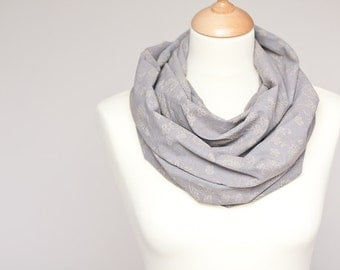 Infinity Gray Scarf Versatile Cowl Loop Silver Taupe urban modern neutral holiday