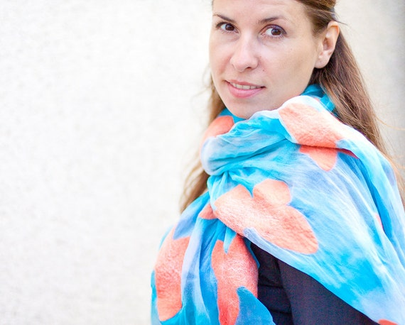 Silk Scarf nuno felted Shawl Tangerine Coral Butterfly Garden Turquoise Aqua Sky Blue sea vacation
