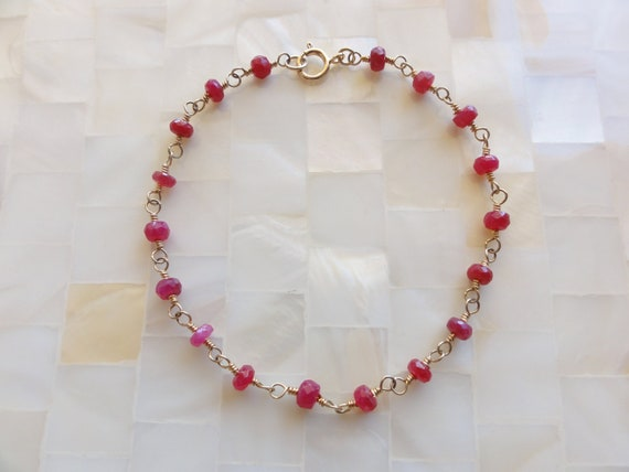 Faceted Natural Ruby Rondelle Vermeil Wire Wrapped Chain Bracelet
