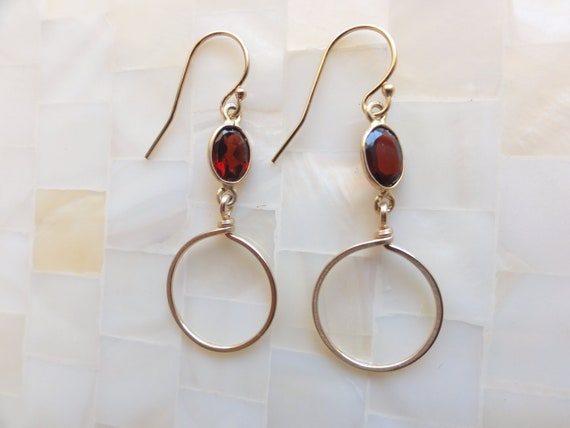 Faceted Garnet Vermeil Bezel Connector Hoop Earrings