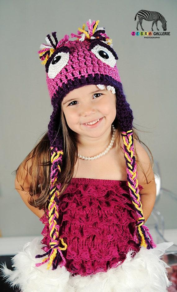 Googly Eyed Pink Monster Crochet Hat, Child, Teens, Adults
