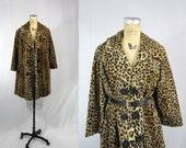 vtg 1960s Coat / Retro Leopard Safari Swing Jacket / Medium Large