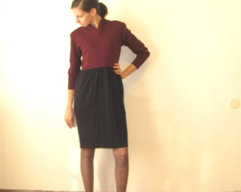 Cranberry Blueberry Sweater Dress / Autumn and Winter Work Wear