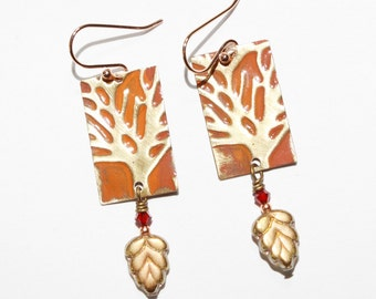 Tree Earrings Rustic Embossed Brass