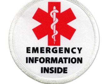 Emergency Information Inside Red Medical Alert White Rim Sew-on Patch (Choose Size)